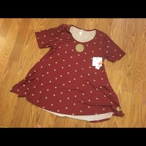 LuLaRou Perfect - T Burgundy Top Gold Dots Large